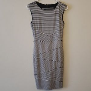 White House Black Market striped fitted dress